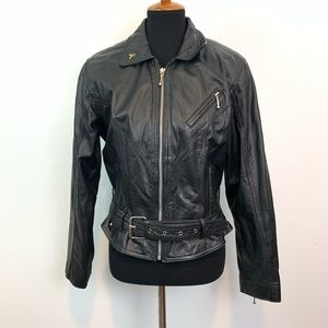 Vintage CHIA Motorcycle Retro Leather Jacket Sz L